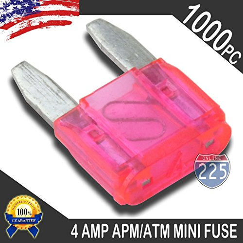 1000 Pack 4 AMP APM/ATM 32V Mini Blade Style Fuses 4A Short Circuit Protection Car Fuse
