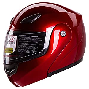 IV2 Wine Red Bluetooth Compatible Modular Flip-Up Motorcycle Helmet [DOT] - XXL