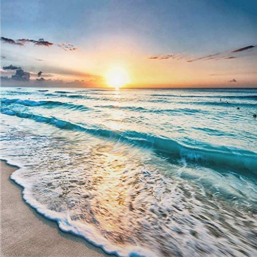 DIY 5D Full DrillDiamond Painting Kit, Beach Sunset (Set via Number) Digital Painting Round Diamonds, Adult Diamond Painting Kit, Crystal Diamond Art for Home Decoration Products(12x12inch)