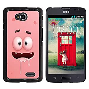 FECELL CITY // Duro Aluminio Pegatina PC Caso decorativo Funda Carcasa de Protección para LG Optimus L70 / LS620 / D325 / MS323 // Pink Cartoon Character Eyes Teeth