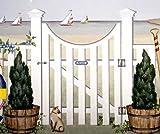Porthole Gate & Fence Garden Gate Mural Stencil - Stencil only - 7.5 mil standard