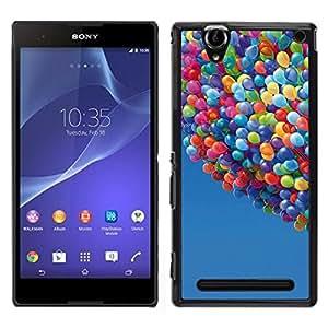 Sony Xperia T2 Ultra Único Patrón Plástico Duro Fundas Cover Cubre Hard Case Cover - Balloons Up Sky Blue Summer Cartoon