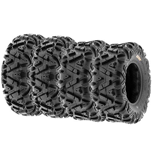 Set of 4 SunF Power.I ATV UTV all-terrain Tires 25x8-12 Front & 25x10-12 Rear, 6 PR, Tubeless A033 (Best Atv Tires For Trail Riding)