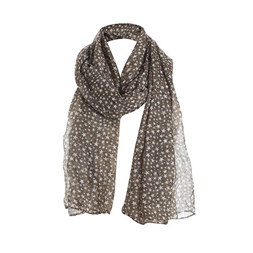 MaxFox Women Lace Long Scarves Scarf Ladies Printed Star Pattern Flowers Soft Warm Striped Chiffon Wrap Shawl (Coffee)
