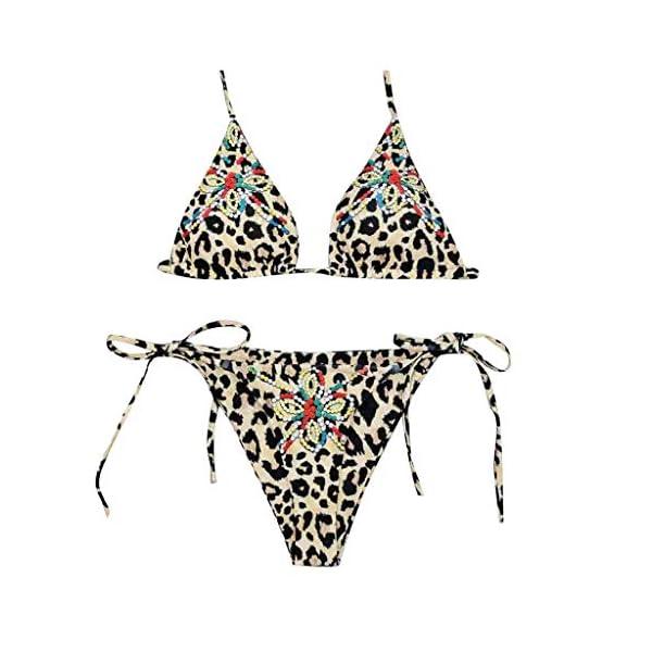 FRAUIT Costumi Donna Mare Due Pezzi Brasiliana Leopardato Bikini Brasiliano Ragazza Push Up Triangolo Sexy Hot Costume… 1 spesavip