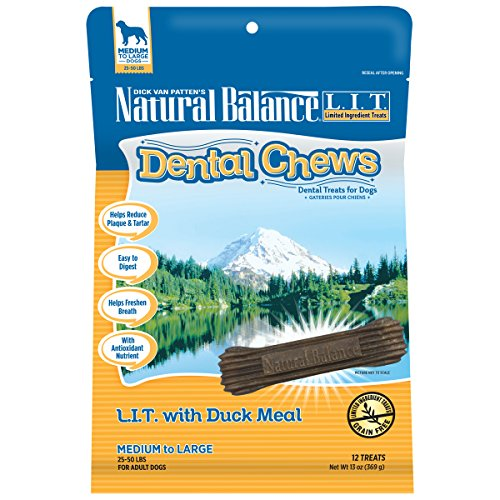 Natural Balance Dental Chews Dog Treats, L.I.T. Limited Ingredient Treats Duck Meal Formula, Grain Free, for Medium Dogs, 13-Ounce