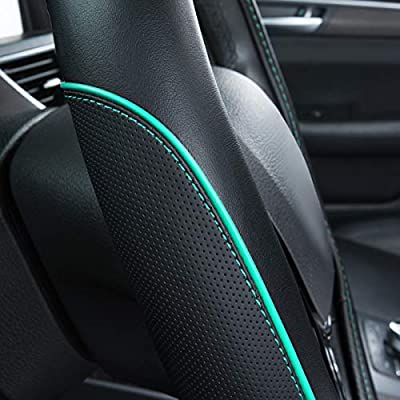 CAR PASS Colour Piping Leather Universal Fit Steering Wheel Cover,Perfectly fit for Suvs,Vans,Trucks,Sedans,Cars (Black and Mint): Automotive