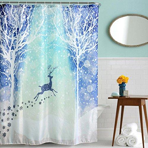 Vidlan Frohe Weihnachten Stoff Wasserdichte Badezimmer Duschvorhang Größe: 180cm * 180cm (D)