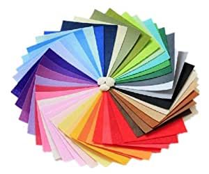 DIY Polyester Felt Nonwoven Fabric Sheet for Craft Work 50 Colors Super Soft Squares15 x 15cm / 5.9 x 5.9inch, About 1mm Thick