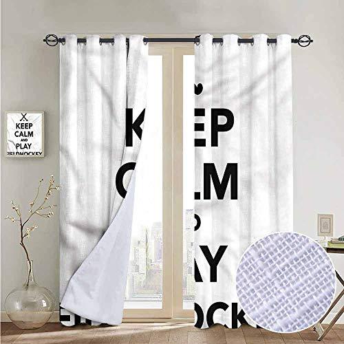 fengruiyanjing Windows Decor Curtain Panel Custom Panels for Girls Boys, Hockey, Play Fieldhockey Phrase 72
