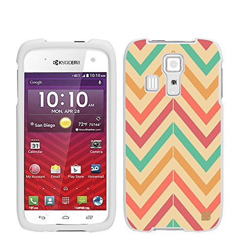 (Kyocera Hydro Icon C6730/Hydro Life C6530 (Boost Mobile,Metro PCS,T-mobile,Virgin Mobile,Sprint)Beyond Cell ®Slim Protex Design 2 Piece Snap On (Front & Back) Hard Rubberized Feel Non-Slip Matte Protective Phone Case - Pastel Chevron Design - Retail Packaging)