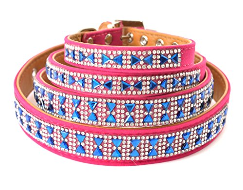 Lushpetz Pink and Blue Sparkly Rhinestone Dog Collar Xsmall, Small, Medium and Large Size Breeds (SMALL) -