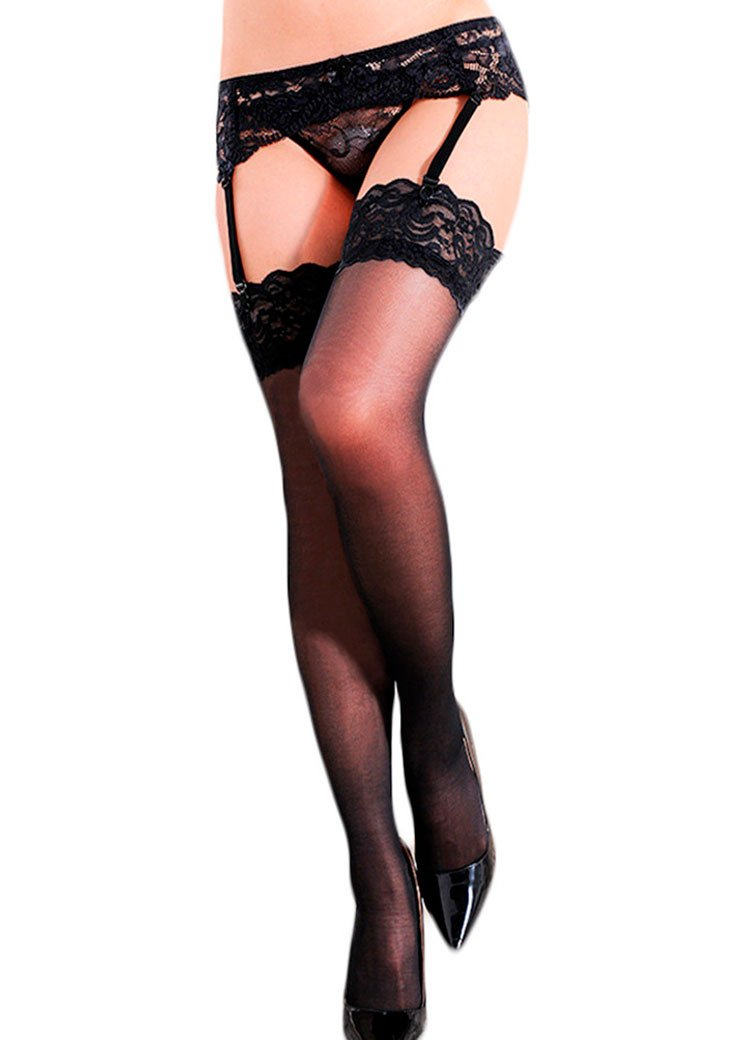 YKSH Women's 3 Pieces Lace Garter Belt Stockings Sets,Black#2,One Size