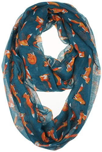 Vivian & Vincent Soft Light Cartoon Fox Sheer Infinity Scarf (SteelBlue)