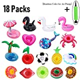 PETUOL Inflatable Drink Holders, 18 Packs Drink Floats Inflatable Cup Coasters for Pool Party and Kids Bath Toys (Mermaid Swan Flamingo Crab Pineapple Heart Mushroom Football Apple Red Lips)