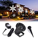 Solar Light, Hatop Outdoor Waterproof LED Light Projector White Moving Snowflake for Christmas