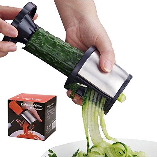 Good Grips Handheld Spiralizer Original Spiral Vegetable Slicer noodle maker stainless steel(with a cleaning brush) black by Taoya