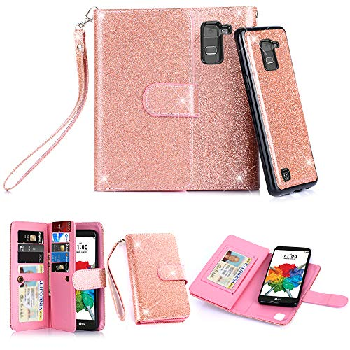 TabPow LG G Stylo 2 Plus MS550 Case, 10 Card Slot - [ID Slot] Wallet Folio PU Leather Case Cover with Detachable Magnetic Hard Case for LG G Stylo 2 Plus MS550 - Rose Gold