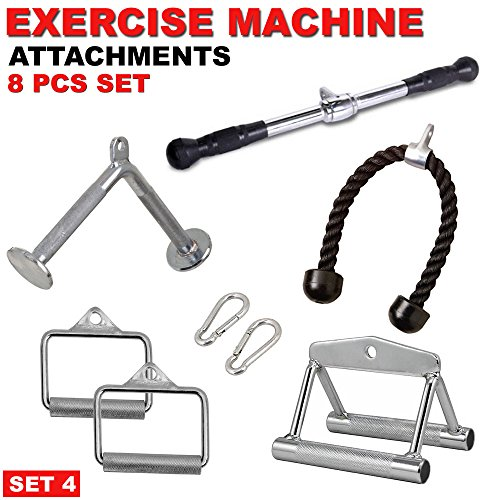 FITNESS MANIAC Deluxe Straight Barbell Bar Gym Cable Machine Attachments Bundle Pull Handle Pressdown Weightlifting Exercise Tricep Bar Combo 8PC Set