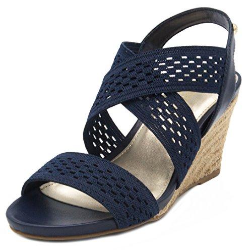 (London Fog Womens Pickwick Open Toe Espadrille Stretch Wedge Sandals Navy 8)