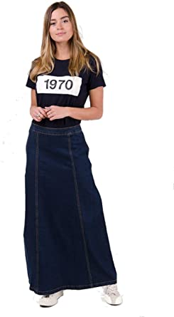 Wash Clothing Company Matilda Falda Vaquera Larga - Azul Oscuro ...