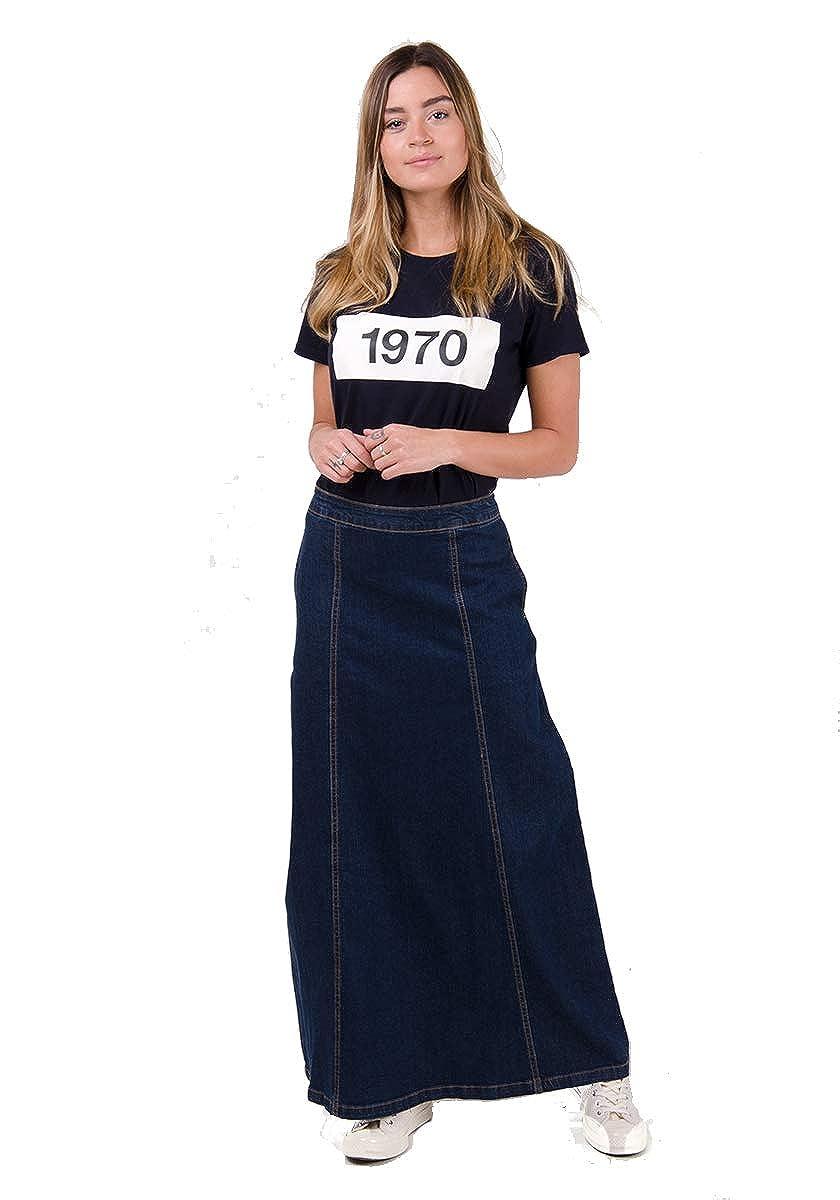 Wash Clothing Company Matilda Falda Vaquera Larga - Azul Oscuro Falda Maxi EU36-50 MATILDADW