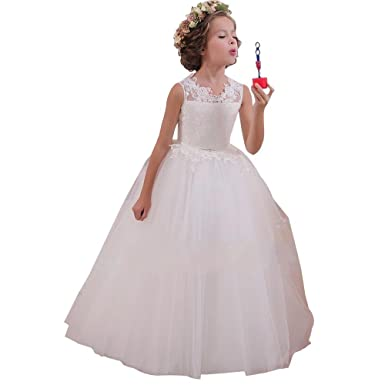 Amazon.com: Lace White Flower Girl Dresses Ivory Party Little ...