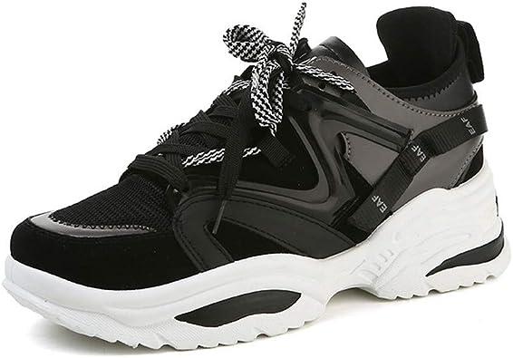 Zapatillas de Deporte de tacón Alto para Mujer Plataforma Femenina Zapatos Casuales Damas al Aire Libre Transpirable Zapatillas Gruesas con Suela Gruesa: Amazon.es: Zapatos y complementos