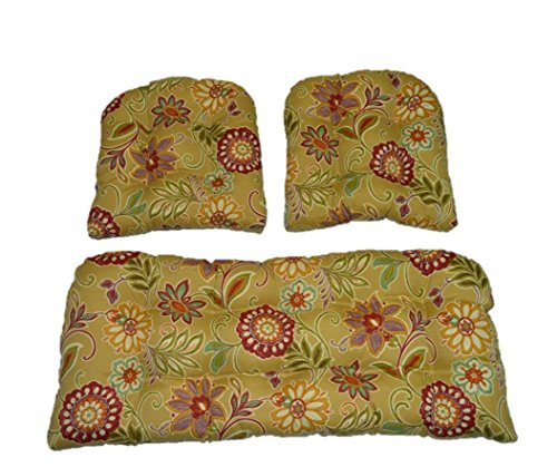 3 Piece Wicker Cushion Set - Tan, Burgundy, Olive Green, Purple, Orange, Teal Floral Scroll Indoor / Outdoor Fabric Cushion for Wicker Loveseat Settee & 2 Matching Chair Cushions (Wicker Set Loveseat)