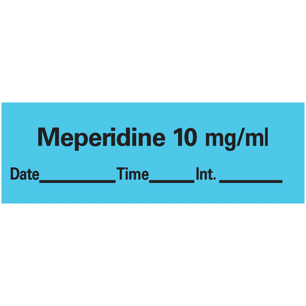 PDC Healthcare AN-12D10 Anesthesia Tape with Date, Time and Initial, Removable, Meperidine 10 mg/mL, 1'' Core, 1/2'' x 500'', Imprints Blue 333 (Pack of 1)