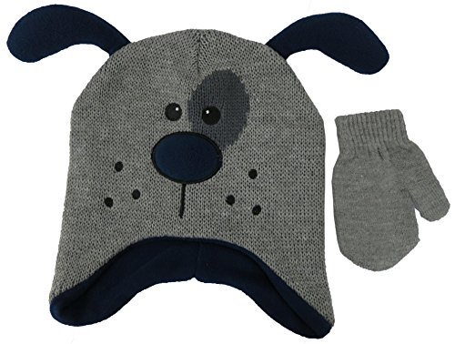 ABG Accessories Knit Animal Dog Face Grey Critter Hat and Mitten Set (Knit Dog Ear Hat)