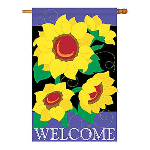 Two Group - Sunflowers Spring - Everyday Floral Applique Decorative Vertical House Flag 28