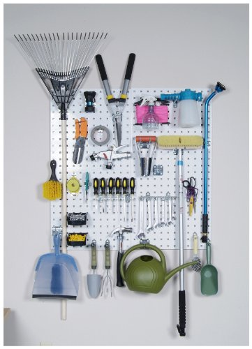 Triton Products LB18-CK 2 LocBoard Square Hole Pegboards 18-Inch W by 36-Inch H by 9/16-Inch D Steel with 30 pc, LocHook Assortment and Hanging Bin System by Storability (Image #1)