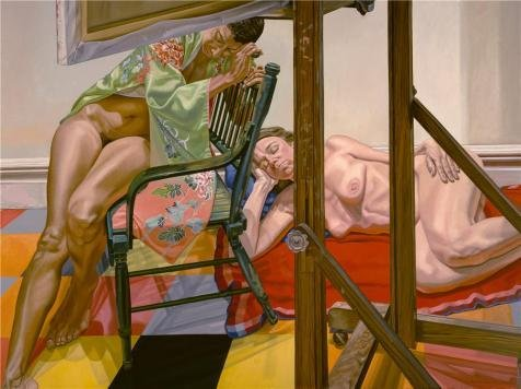 The Polyster Canvas Of Oil Painting 'Philip Pearlstein,Two Models From The Other Side Of The Easel,1984' ,size: 24x32 Inch / 61x82 Cm ,this Beautiful Art Decorative Prints On Canvas Is Fit For Powder Room Gallery Art And Home Artwork And Gifts
