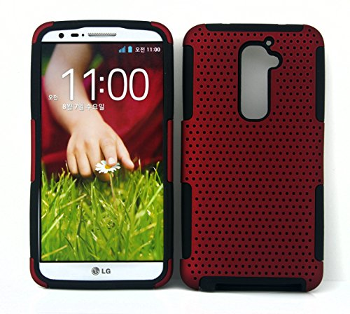 Microtimes Silicone Skin Gel Case & Mesh Shockproof Protection Case Cover for LG G2 (Red)