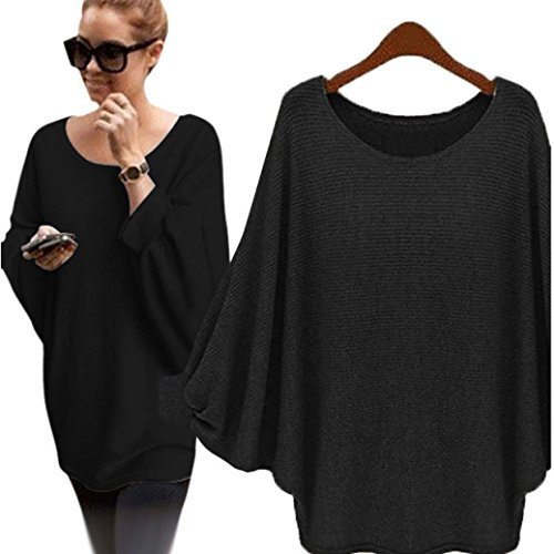Gillberry Women Solid Oversized Batwing Knitted Pullover Loose Sweater (free size, Black) (Contrast Stretch Scrub Top)