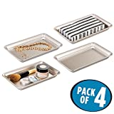 mDesign Metal Storage Organizer Tray for Bathroom Vanity Countertops, Closets and Dressers - Holder for Guest Hand Towels, Jewelry, Makeup Brushes, Reading Glasses - Pack of 4, Satin