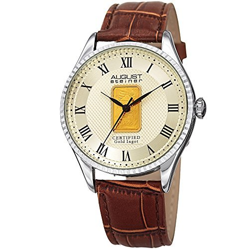 August Steiner Quartz Champagne Dial Men's Watch AS8217SSBR