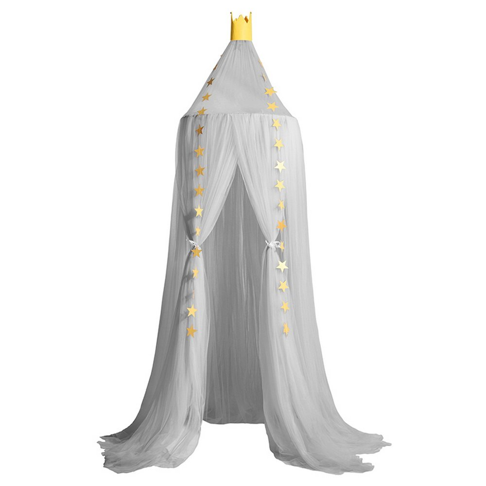 Bed Canopy Mosquito Net for Kids Baby Crib, Round Dome Kids Indoor Outdoor Castle Play Tent Hanging House Decoration (Grey)