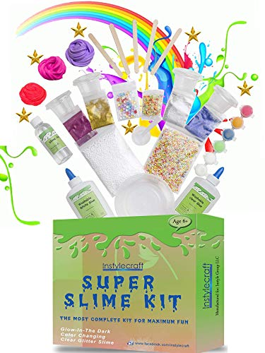 DIY Slime Kit –Learn how to make slime! Make Glow-In-The Dark, Clear, Neon and Glitter Slime – Perfect Gifting Option! Comes With Easy To Make Recipes! Super Slime Making Kit for Boys & Girls! ()