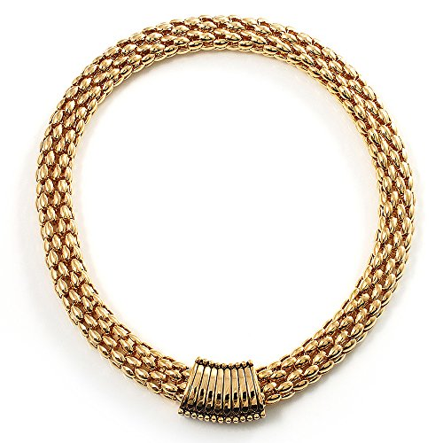 (Avalaya Gold Tone Wide Mesh Magnetic Fashion Choker Necklace )