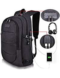 Business Laptop Backpack Water Resistant Anti-Theft College Backpack with USB Charging Port and Lock 15.6 Inch Computer Backpacks for Women Men, Casual Hiking Travel Daypack (A-Black)
