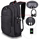 Tzowla Business Laptop Backpack Water Resistant Anti-Theft College Backpack with USB Charging Port and Lock 15.6 Inch Computer Backpacks for Women Men, Casual Hiking Travel Daypack (Black)