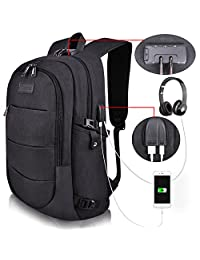 Tzowla Business Laptop Backpack Anti-Theft College Backpack with USB Charging Port and Lock 15.6 Inch Computer Backpacks for Women Men, Casual Hiking Travel Daypack (Black)