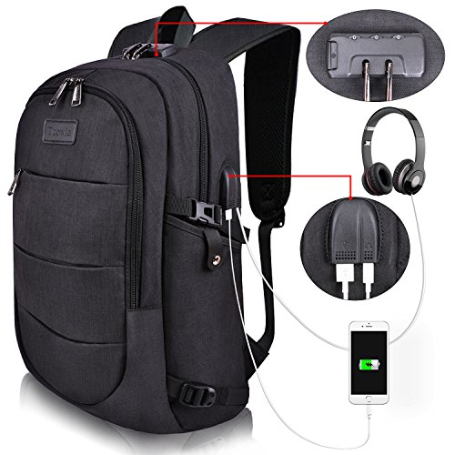 Tzowla Business Laptop Backpack Water Resistant Anti-Theft College Backpack with USB Charging Port and Lock 15.6 Inch Computer Backpacks for Women Men, Casual Hiking Travel Daypack (Black) by Tzowla