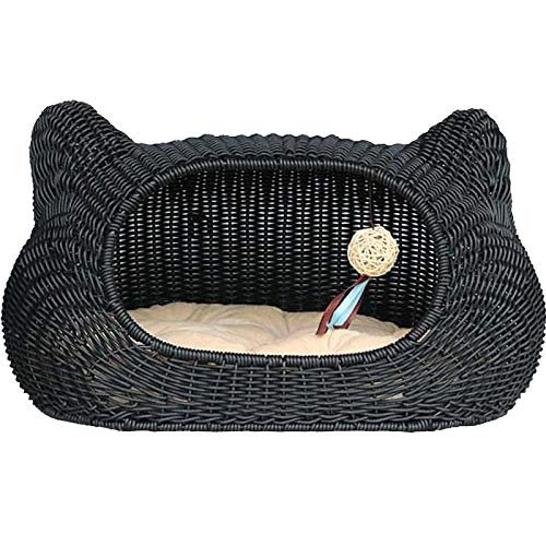 Black 553335cm Black 553335cm Soft and Comfortable Hand-Woven Rattan Cat Toilet Cat's Home Cat Climbing Frame Removable and Washable Cat Head Cat Cage Dog House Dog House Washable (color   Black, Size   55  33  35cm)