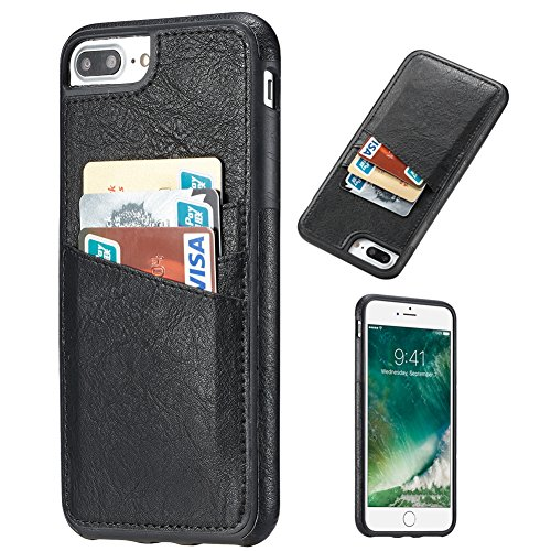 iPhone 7 Plus Case, iPhone 8 Plus Case, Premium Leather Wallet with Credit Card Slot Holder for Men/Women's Cellphone Shell Skin Magnetic Flap Cover for Apple iPhone 7Plus 8Plus - black