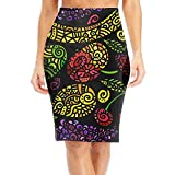 Glass Flower Pattern Women's Stretchy Mini Pencil Skirt Suiting Basic Bodycon Office Dress