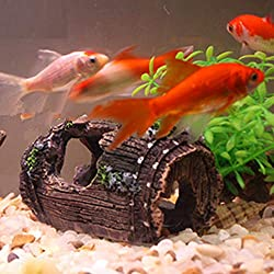 Clearance Sale!DEESEE(TM) Fish Tank Aquarium Cave Resin Broken Barrel Ornament Landscape Decor (Coffee)
