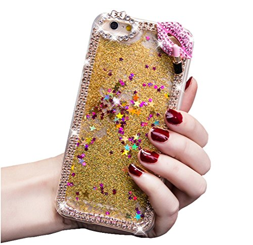Dreams Mall(TM)New Fashion 3D Shiny Dynamic Quicksand and & Blingbling Diamond & Lips and Lipstick Case Cover Protection for Apple iPhone6 4.7inch-Gold